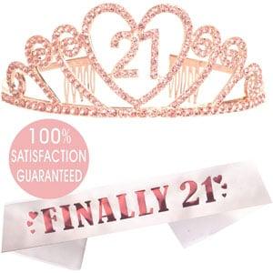 21st Birthday Tiara and Sash Pink