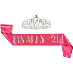 21th Birthday Tiara and Sash (Pink/Glitter Satin)