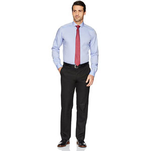 Amazon Buttoned Down Mens Tailored Fit Cutaway-Collar Solid Pinpoint Dress Shirt
