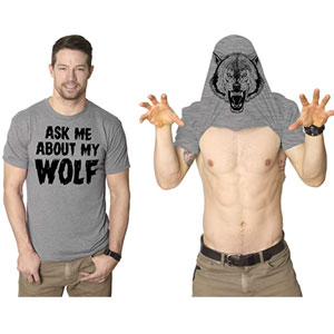 Ask Me About My Wolf Flip T Shirt