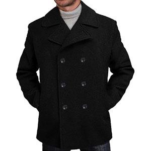 BGSD Mens Mark Classic Wool Blend Pea Coat