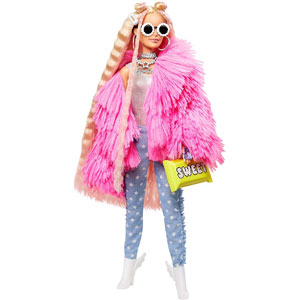 Barbie Extra Doll 3 in Pink Fluffy Coat with Pet Unicorn Pig