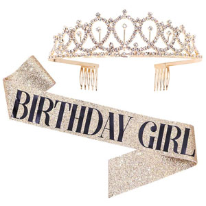 Birthday Girl Sash & Rhinestone Tiara Kit