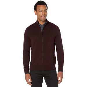 Calvin Klein Mens Merino Sweater Full Zip