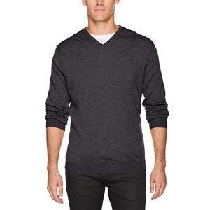 Calvin Klein Mens Merino Sweater V-Neck Solid