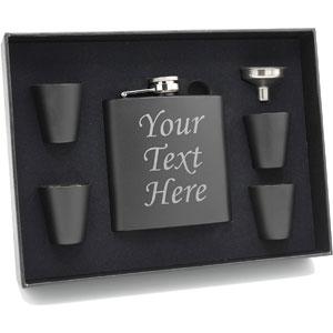 Custom Personalized Black Flask Set