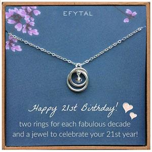 EFYTAL 21st Birthday Sterling Silver Necklace