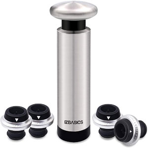 EZBASICS Wine Saver Pump with 4 Vacuum Bottle Stoppers