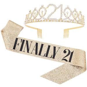Finally 21 Sash & Rhinestone Tiara Set (Gold)