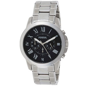 Fossil Mens Grant Stainless Steel Chronograph Quartz Watch
