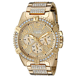 GUESS Mens Stainless Steel Crystal Dress Watch