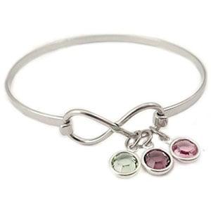 Personalized Infinity Birthstone Bangle Bracelet