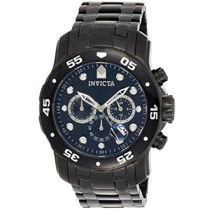 Invicta Mens Pro Diver Chronograph Black Stainless Steel Watch