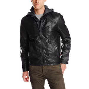 Levis Mens Faux Leather Hooded Racer Jacket