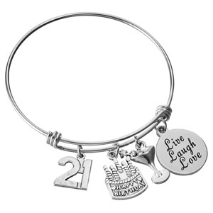 Miss Pink 21st Birthday Stainless Steel Expandable Bangle