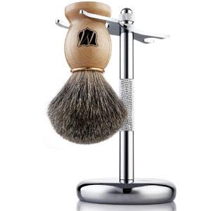 Miusco Natural Badger Hair Wet Shaving Brush and Stand Set