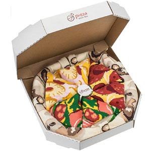PIZZA SOCKS BOX MIX Hawaii Italian Pepperoni Cotton Socks, 4 Pairs