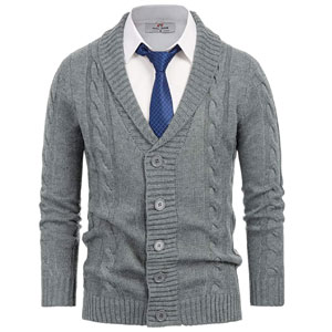 PJ PAUL JONES Mens Shawl Collar Cardigan Sweater Button Down Cable Knit Sweaters