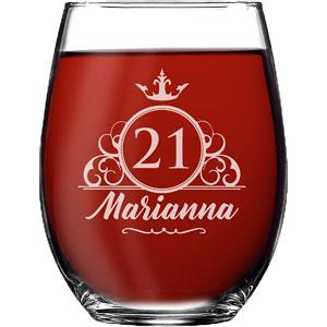 Personalized 21st Birthday Stemless Wine Glass