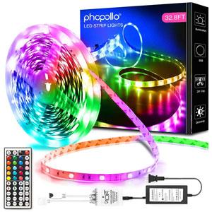 Phopollo LED Lights 32.8 Ft. LED RGB Strip Lights
