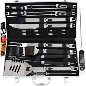 ROMANTICIST 21pc BBQ Grill Accessories Set with Thermometer