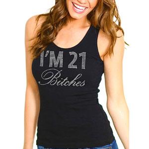 RhinestoneSash 21st Birthday Shirt