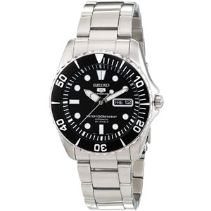 Seiko 5 Automatic Black Dial Stainless Steel Mens Watch SNZF17
