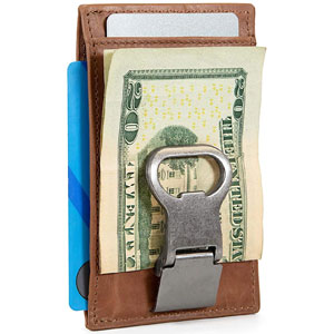 Slim RFID Leather Money Clip Wallet with Bottle Opener
