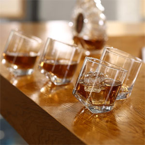 Tilting Whiskey Scotch Clear Glasses, Set of 4