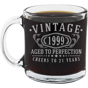 Vintage 21st Birthday Glass Coffee Mug