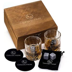Whiskey Stones Gift Set w/ 8 Granite Whiskey Rocks