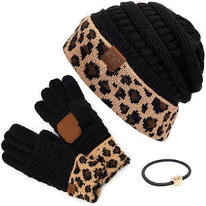 C.C Cable Knit Beanie and Glove Gift Set