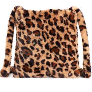 Fuzzy Leopard Print Clutch Handbag