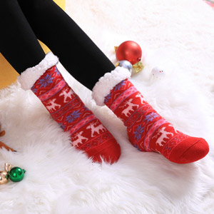 SDBING Fuzzy Fleece-Lined Slipper Socks
