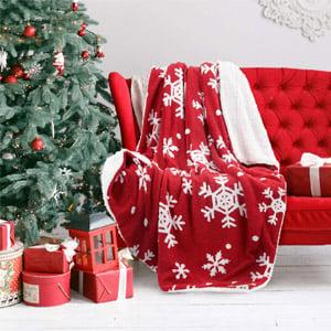 Bedsure Christmas Holiday Sherpa Fleece Throw