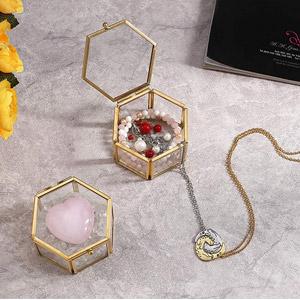 Jovivi Gold Copper Clear Glass Jewelry Box