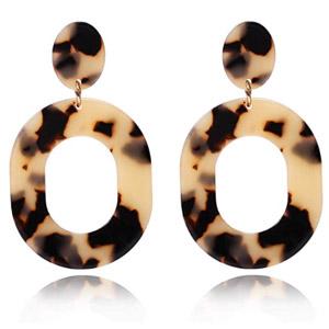 Multicolored Oval Hoop Leopard Earrings