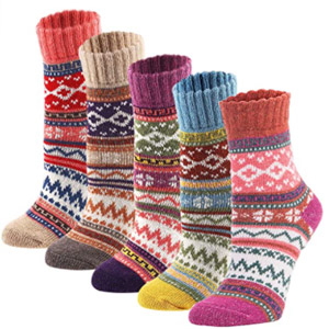YZKKE 5Pack knit Wool Crew Socks