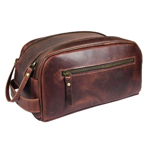 """10"""" Premium Leather Toiletry Travel Pouch"""