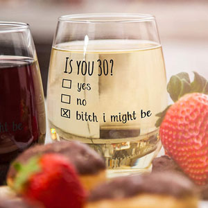 1990 30th Birthday Gift for Women and Men Wine Glass