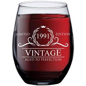 1991 Vintage 15-Oz Stemless Wine Glass