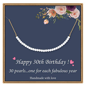 30th Birthday Pearl Pendant Necklace