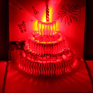 3D Pop-Up LED Light Happy Birthday Music Greeting Card