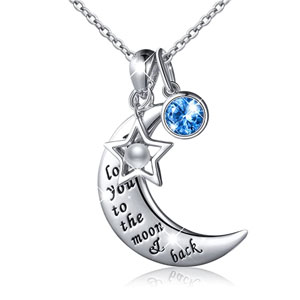 925 Sterling Silver Charm Crescent Star Necklace I Love You to the Moon and Back Pendant