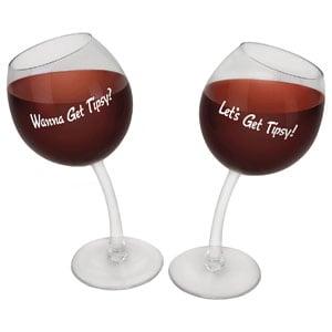 BigMouth Inc Tipsy Wine Glasses, Set of 2
