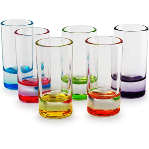 Circleware Paradise Shot Glass Drinking Cups, Set of 6, Asst Colors