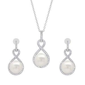 Dazzlingrock Collection Round White Freshwater Pearl & Diamond Infinity Drop Earrings & Pendant Set