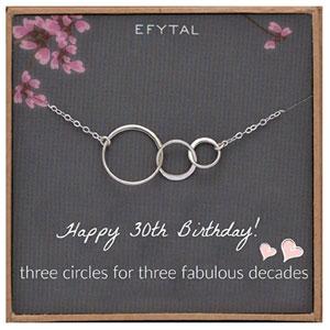 EFYTAL 30th Birthday Sterling Silver Three Circle Necklace