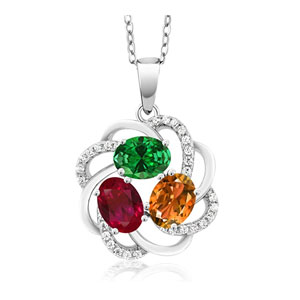 Gem Stone King 925 Sterling Silver Personalized 3 Birthstones Pendant Necklace