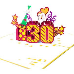 Happy 30th Birthday 3D Pop-Up Greeting Card